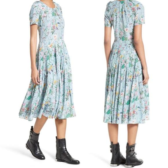 1d7c6d1cb5e The Kooples Floral Print Pleated Silk Midi Dress. M_5ad9590750687c5671d8734a